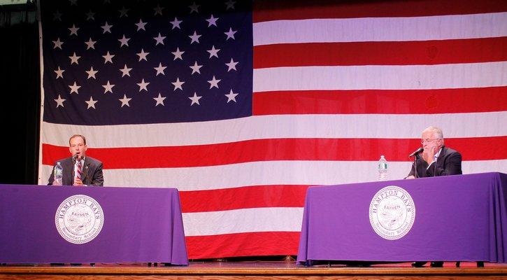 State Senator Lee Zeldin, left, and Congressman Tim Bishop during a debate at Hampton Bays High School. KYLE CAMPBELL