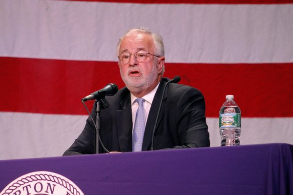 Congressman Tim Bishop during a debate with Lee Zeldin hosted by the Hampton Bays Civic Association at Hampton Bays High School. KYLE CAMPBELL