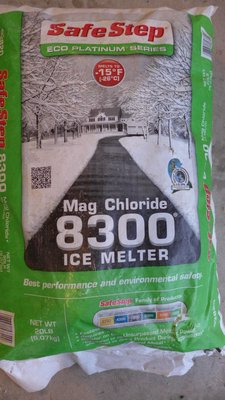 This product is magnesium chloride. It's the most expensive ice melter and not always available but it's the best material to use when you want a material that's easy on hardscapes and plants. ANDREW MESSINGER
