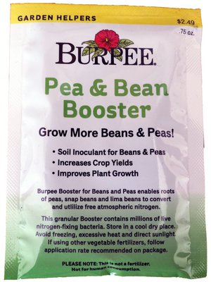 This soil-applied inoculant from Burpee works on peas and beans because it contains four different species of bacteria. Read the directions carefully, as some inoculants are applied to the soil while others are applied to the seeds as a pre-plant soaking. Never use chlorinated water if soaking your seed in the inoculant.
