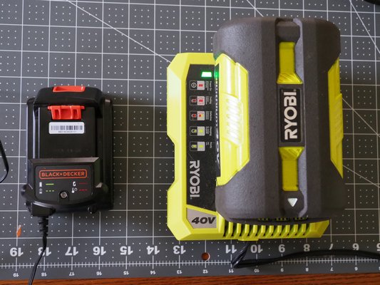 If you own battery-operated tools, the batteries need to be maintained during the winter by keeping them charged. Smart chargers like the one on the right for a line trimmer can diagnose issues and show charge levels. The smaller battery on the left is for a hedge trimmer and while not quite as smart this battery can show charge levels, a battery beyond recovery and a battery that's too cold or hot to charge. ANDREW MESSINGER
