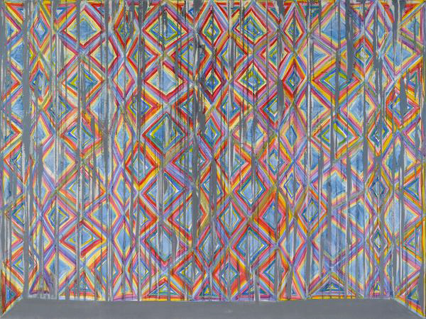 """PARALLELS"" oil on canvas  6 x 7 feet, 2011 by Richmond Burton."