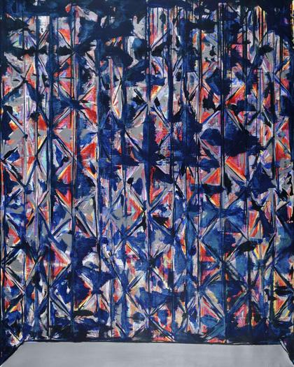 """ELEVATOR,"" oil on linen,  90 x 72,  2011 by Richmond Burton."