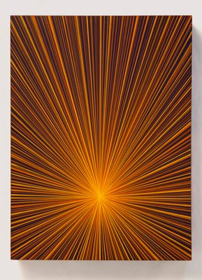 """Untitled (Yellow-Orange Beams on Blue)"", 12"" x 9""  acrylic on wood, 2017 by Shelter Island artist Karen Arm."