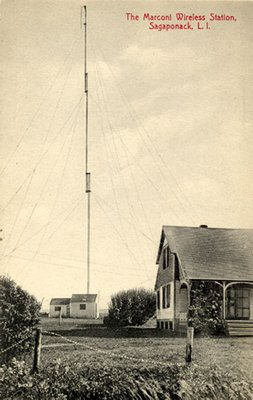A postcard depicting the former Marconi tower in Sagaponack.