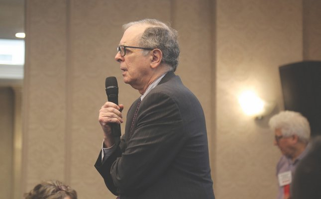 Suffolk County Health Department Commissioner Dr. James Tomarken speaks at an event in October.