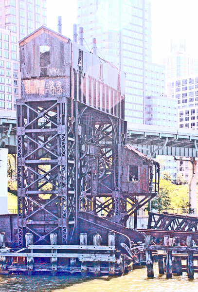 Walter Schwab will show a series of color photographs of gantries on the Hudson.