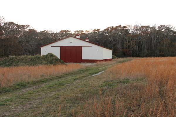 Farming industry advocates have joined a legal battle over the right of farmers to construct agricultural buildings on protected farmlands. This barn in Amagansett, which was constructed by the Peconic Land Trust, has been the subject of a lawsuit that sites a judge's ruling last year that says such structures cannot be built on land that has its development rights purchased by the county. Kyril Bromley
