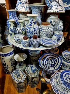 Blue and white pottery at JED Design and Antiques in Sag Harbor. JACK CRIMMINS
