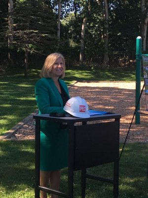 Superintendent of Springs School, Debra Winter before breaking ground on the school's new septic system. COURTESY DEBRA WINTER