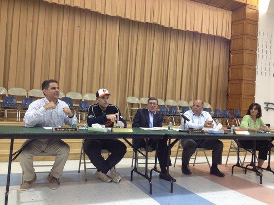 East Quogue Board of Education members Ralph Naglieri, Joe Tsaveras, Superintendent Les Black, Mario Cardaci and Patricia Tuzzolo at the meeting on Monday, June 3. BY CAROL MORAN