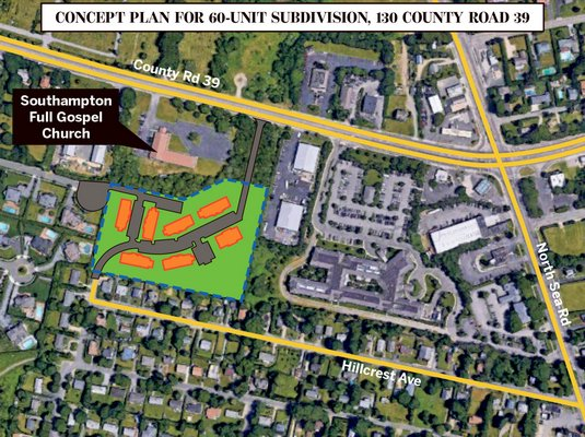 Preliminary concept for 60 affordable housing units at 130 County Road 39, Southampton. MICHAEL PINTAURO