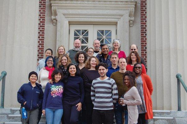 Members of the inaugural group of Obama Foundation Scholars in front of the John Jermain Memorial Library. JON WINKLER