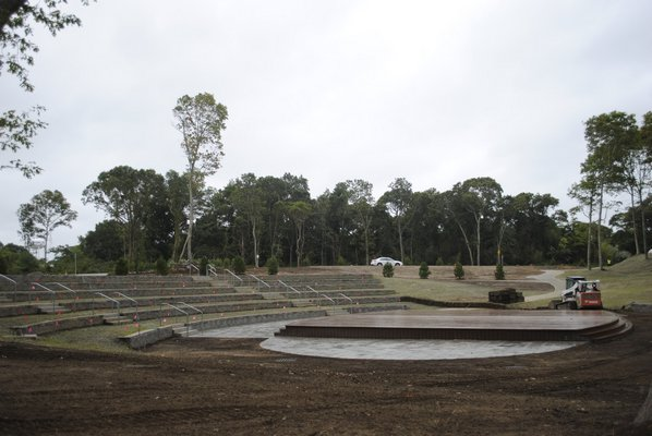 Good Ground Park amphitheater being constructed last year. AMANDA BERNOCCO