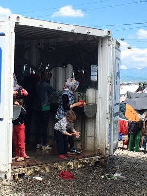 A washroom for the residents of the Idomeni refugee camp in Greece. COURTESY OF DEBRA MCCALL