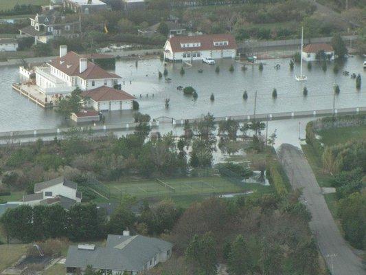 The Oneck estate, flooded after a severe storm. COURTESY LAWRENCE PORTER