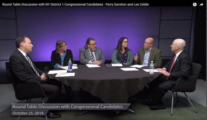 Congressional candidates Lee Zeldin, left, and Perry Gershon, right, sat down with the staff of The Press News Group and Sag Harbor Express for a digital debate at LTV studios.
