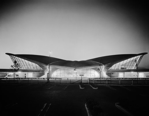 Ezra Stoller (American, 1915–2004), TWA Terminal at Idlewild (now JFK) Airport, Eero Saarinen, New York, NY, 1962. Chromogenic print, 16 x 20 inches. Courtesy Yossi Milo Gallery, New York. © 2018 Estate of Ezra Stoller/Esto.
