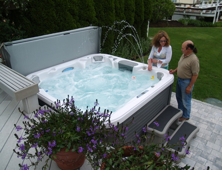 An outdoor spa owned by Lou and Kathy Cillo of Westhampton Beach overlooks the Moriches Bay. JENNETT MERIDEN RUSSELL PHOTOS