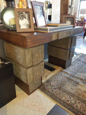 An unusual Wenge Wood Desk in Brutalist style at Collette. JACK CRIMMINS