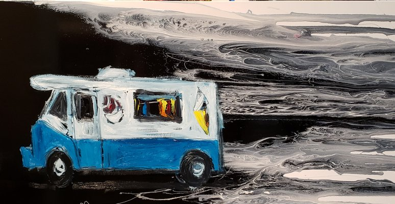 An oil painting of an ice cream truck by Mitchell Schorr.