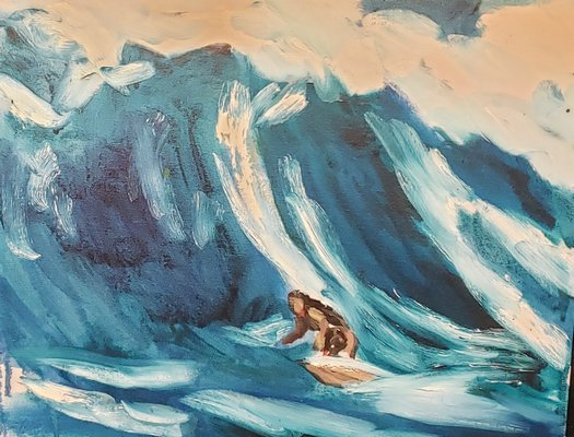 A Mitchell Schorr surf scene oil painting.