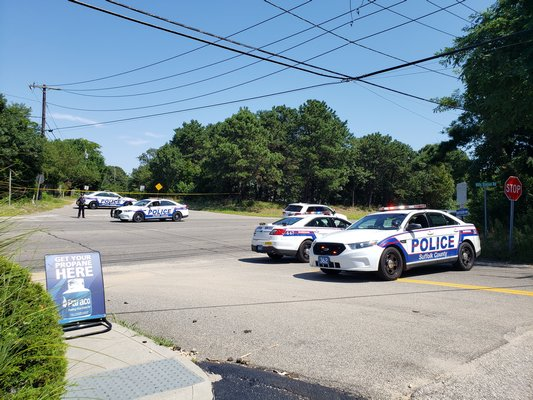Police blocked roads along County Road 39 in preparation for the presidential motorcade.