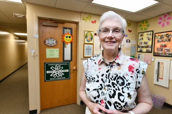 Sister Mary Beth Moore at Centro Corazon De Maria in the same building as the Church of St. Rosalie in Hampton Bays on Monday. DANA SHAW