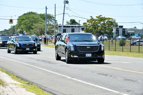 President Donald Trump's motorcade leaves Gabreski airport to head to fundraisers in Southampton and Bridgehampton on Friday. DANA SHAW