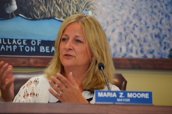 Westhampton Beach Mayor Maria Moore at the special meeting on Tuesday, August 6. ANISAH ABDULLAH