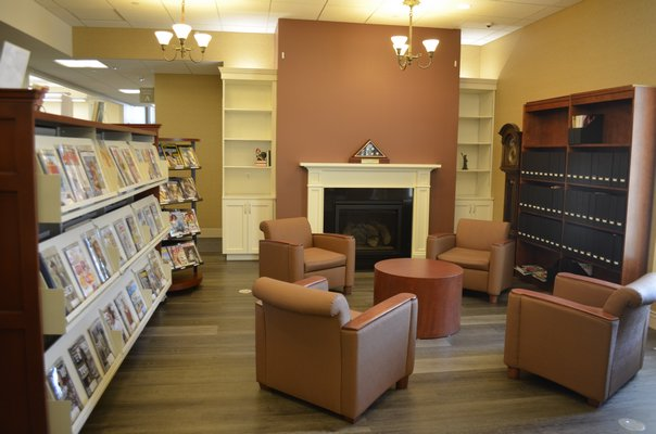 The new fireplace and reading area in the entrance. ANISAH ABDULLAH