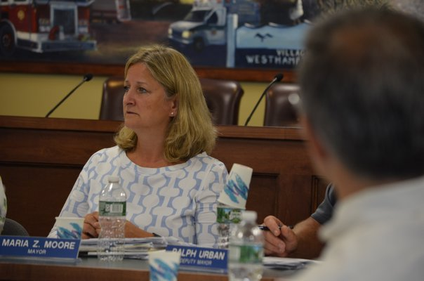 Westhampton Beach Village Mayor Maria Moore at the August 21 work session. ANISAH ABDULLAH