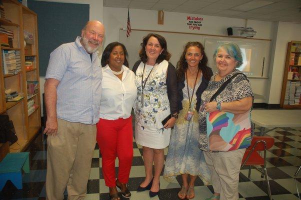 Members of the Diversity and Inclusion Committee; Ken Dorph, Joan Dudley, Superintendent Katy Graves, Yani Cuesta, and Bobbie Cohen.   ELIZABETH VESPE