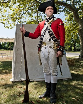 An officer of the 23rd Regiment, Royal Welch Fusiliers in America, Grenadier Company, at this weekend's Revolutionary War encampment on the Great Lawn which was sponsored by the Westhampton Beach Historical Society.
