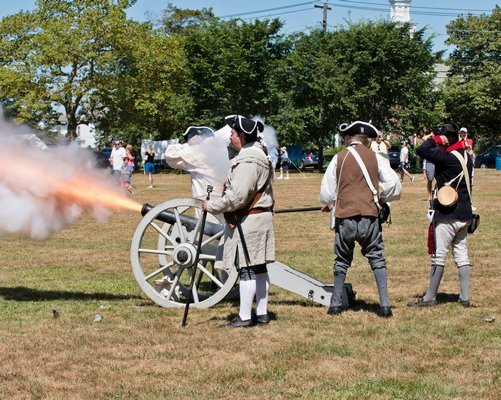 The cannons were blazing at this weekend's Revolutionary War encampment on the Great Lawn sponsored by the Westhampton Beach Historical Society.