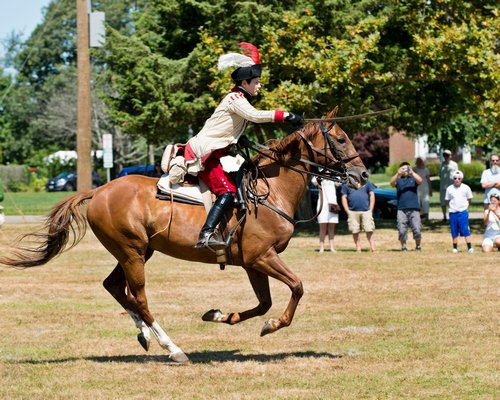 A cavalry demonstration was part of this weekend's Revolutionary War encampment on the Great Lawn sponsored by the Westhampton Beach Historical Society.
