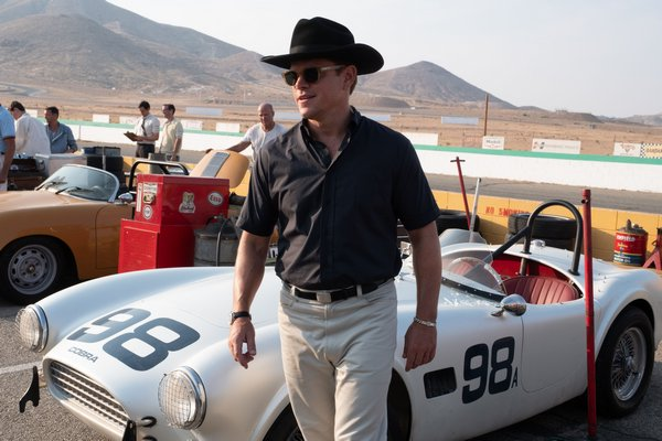 "Matt Damon in ""Ford v Ferrari,"" James Mangold's film based on the true story of the visionary American car designer Carroll Shelby (played by Damon) and the fearless British driver Ken Miles (Christian Bale)."