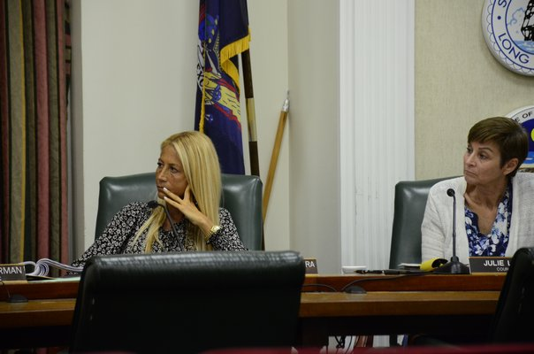 Southampton Town Board member Christine Scalera and Julie Lofstad voted in favor of allowing farmstands to have food trucks operate on the property, though the Town Supervisor and other two board members voted against the measure. GREG WEHNER