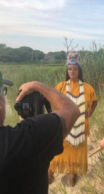 Gianni Willis doing a photo shoot with her photographer, Bryan Downey.