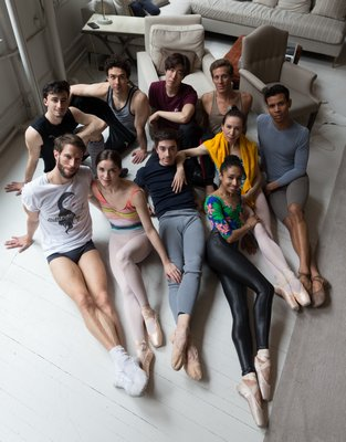 Hamptons Dance Project: Front row, left to right: James Whiteside, Cassandra Trenary, Tyler Maloney, Erica Lall, Isabella Boylston, Jose Sebastian. Back row: Carlos Gonzales, Thomas Forster, Sung Woo Han, Blain Hoven.