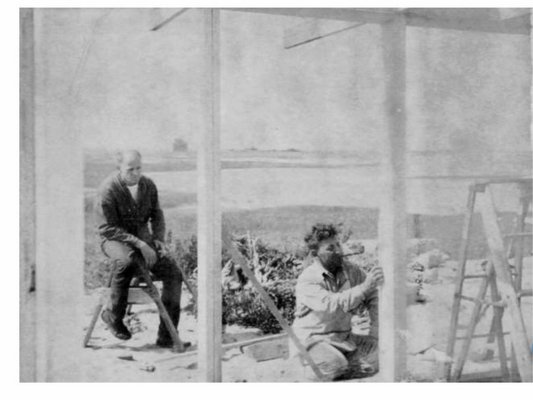 Jackson Pollock watching Victor D'Amico build his home in Lazy Point. COURTESY CHRIS KOHAN