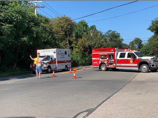 A Bridgehampton Fire Department truck blocked Montauk Highway between Water Mill and Bridgehampton on Thursday.