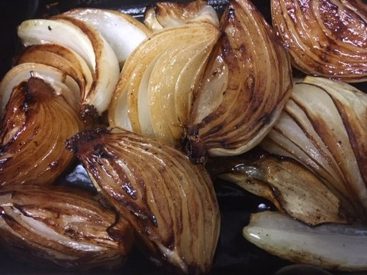 Grilled marinated onions.