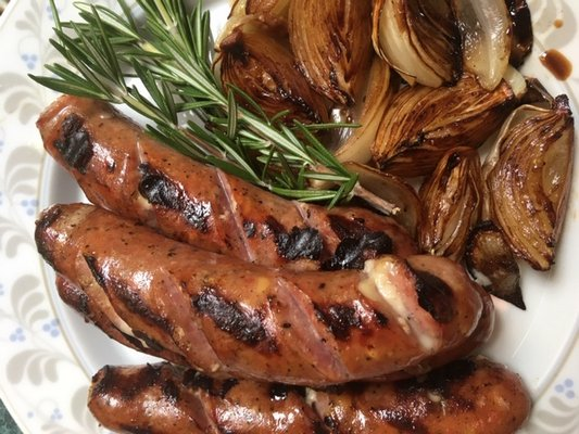 Grilled marinated onions and sausage.