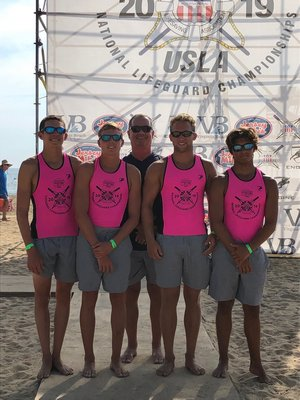 Soutampton Town guards, from left, Jack and Ryan Duryea, chief lifeguard Sean Crowley, Cameron Burton and Jack Duryea.