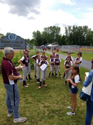 East Hampton manager Mike Ruddy talks to his team at the Robert J. Nolan Memorial Complex in Glens Falls.