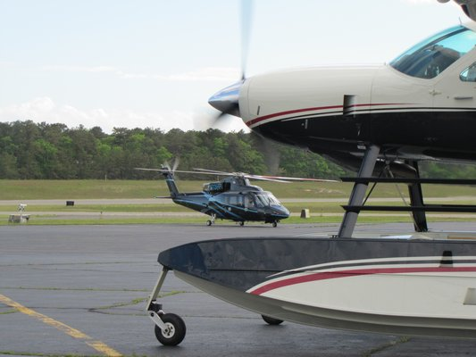 Aircraft traffic is up 7.5 percent at East Hampton Airport this year even though helicopter flights were down slightly until July.    MICHAEL WRIGHT