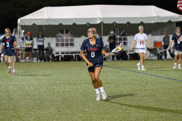 Isabelle Smith works the ball for the U.S.