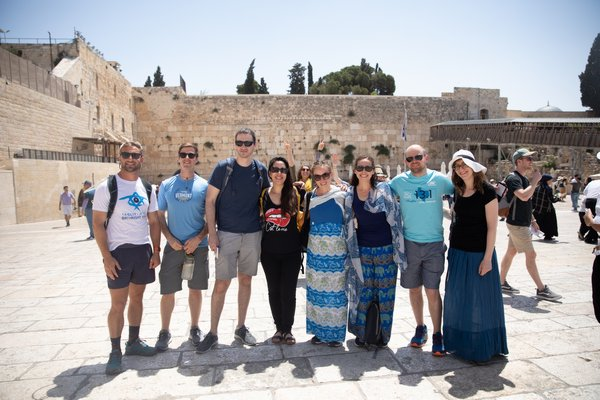 A Birthright Isreal group posing in Jerusalem.