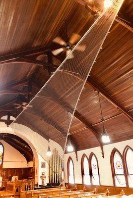 """Jib Net"" by Lisa Hein and Bob Seng, installed inside Christ Episcopal Church."